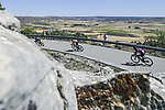 The breakaway with Angel Madrazo Ruiz and Carlos Canal (ESP) Burgos-BH and Joan Bou (ESP) Euskaltel-Euskadi during Stage 4 of La Vuelta d'Espana 2021, running 163.9km from Burgo de Osma to Molina de Aragon, Spain. 17th August 2021.    <br /> Picture: Unipublic/Charly Lopez | Cyclefile<br /> <br /> All photos usage must carry mandatory copyright credit (© Cyclefile | Charly Lopez/Unipublic)