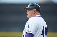 Winston-Salem Dash coach Tommy Thompson (40) coaches first base during the game against the Lynchburg Hillcats at BB&T Ballpark on May 9, 2019 in Winston-Salem, North Carolina. The Dash defeated the Hillcats 4-1. (Brian Westerholt/Four Seam Images)
