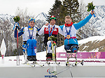 Sochi, RUSSIA - Mar 16 2014 - Chris Klebl receives his gold medal for Cross Country Skiing Men's 10km Sitting at the 2014 Paralympic Winter Games in Sochi, Russia.  (Photo: Matthew Murnaghan/Canadian Paralympic Committee)