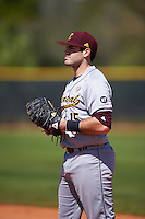 Central Michigan Chippewas first baseman Nick Stokowski (15) during practice before a game against the Boston College Eagles on March 3, 2017 at North Charlotte Regional Park in Port Charlotte, Florida.  Boston College defeated Central Michigan 5-4.  (Mike Janes/Four Seam Images)