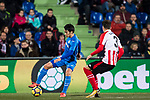 Gaku Shibasaki of Getafe CF (L) fights for the ball with Enric Saborit Teixidor of Athletic Club de Bilbao (R) during the La Liga 2017-18 match between Getafe CF and Athletic Club at Coliseum Alfonso Perez on 19 January 2018 in Madrid, Spain. Photo by Diego Gonzalez / Power Sport Images