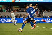 SAN JOSE, CA - SEPTEMBER 4: Javier Eduardo Lopez #9 of the San Jose Earthquakes passes the ball during a game between Colorado Rapids and San Jose Earthquakes at PayPal Park on September 4, 2021 in San Jose, California.