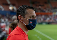 HOUSTON, TX - JUNE 13: Vlatko Andonovski of the USWNT watches his team before a game between Jamaica and USWNT at BBVA Stadium on June 13, 2021 in Houston, Texas.