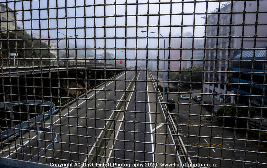 Rush hour on State Highway One motorway before the Terrace Tunnel entrance to Wellington CBD during quarantine lockdown for COVID19 pandemic in Wellington, New Zealand on Wednesday, 1 April 2020. Photo: Dave Lintott / lintottphoto.co.nz