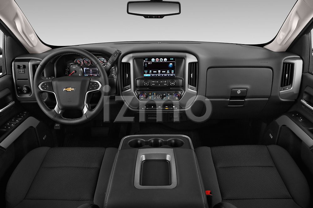 Stock photo of straight dashboard view of a 2018 Chevrolet Silverado 2500 LT Crew Cab 4 Door Pick Up