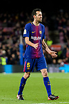 Sergio Busquets Burgos of FC Barcelona reacts during the Copa Del Rey 2017-18 match between FC Barcelona and Valencia CF at Camp Nou Stadium on 01 February 2018 in Barcelona, Spain. Photo by Vicens Gimenez / Power Sport Images