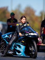 Oct 14, 2019; Concord, NC, USA; NHRA pro stock motorcycle rider Jianna Salinas during the Carolina Nationals at zMax Dragway. Mandatory Credit: Mark J. Rebilas-USA TODAY Sports