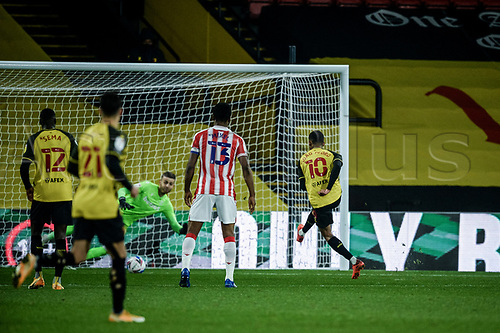 4th November 2020; Vicarage Road, Watford, Hertfordshire, England; English Football League Championship Football, Watford versus Stoke City; João Pedro scores the penalty for Watford for 2-1 in the 61st minute