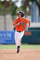 Baltimore Orioles Tim Nichting (55) running the bases during an Instructional League game against the Tampa Bay Rays on October 2, 2017 at Ed Smith Stadium in Sarasota, Florida.  (Mike Janes/Four Seam Images)