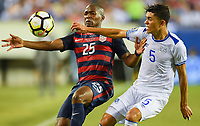 Philadelphia, PA - Wednesday July 19, 2017: Darlington Nagbe, Iván Mancia during a 2017 Gold Cup match between the men's national teams of the United States (USA) and El Salvador (SLV) at Lincoln Financial Field.