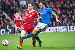 Aberdeen v St Johnstone....01.02.14   League Cup Semi-Final<br /> Stevie May's shot is blocked by Mark Reynolds<br /> Picture by Graeme Hart.<br /> Copyright Perthshire Picture Agency<br /> Tel: 01738 623350  Mobile: 07990 594431