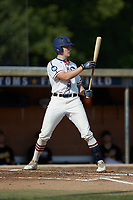 Zach Gelof (26) (UVA) of the High Point-Thomasville HiToms at bat against the Statesville Owls at Finch Field on July 19, 2020 in Thomasville, NC. The HiToms defeated the Owls 21-0. (Brian Westerholt/Four Seam Images)