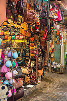 Marrakesh, Morocco.  Leather Goods for Sale in the Souk.