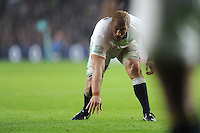Chris Robshaw of England marks his man at a ruck during the Old Mutual Wealth Series match between England and South Africa at Twickenham Stadium on Saturday 12th November 2016 (Photo by Rob Munro)