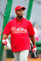 28 September 2010: Philadelphia Phillies' infielder Jimmy Rollins awaits his turn in the batting cage prior to a game against the Washington Nationals at Nationals Park in Washington, DC. The Nationals defeated the Phillies 2-1 on an Adam Dunn walk-off solo homer in the 9th inning to even up their 3-game series one game apiece. Mandatory Credit: Ed Wolfstein Photo