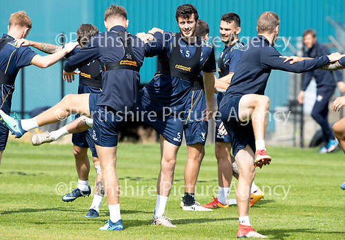 St Johnstone Training….09.08.18<br />Club captain Joe Shaughnessy pictured back in training at McDiarmid Park ahead of Sunday's game against Hibs<br />Picture by Graeme Hart.<br />Copyright Perthshire Picture Agency<br />Tel: 01738 623350  Mobile: 07990 594431