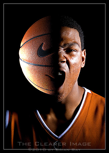 University of Texas freshman Kevin Durant is photographed using a double exposure technique at the Longhorns practice facility in Austin, Texas on Wednesday, October 11, 2006. Durant, the number two high school recruit in the nation, is expected to declare for the NBA draft after the upcoming basketball season. (Brian Ray for the Dallas Morning News)