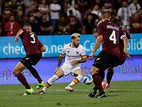 29th August 2021;  Estadio Arechi, Salerno, Campania, Italy;  Serie A Football league, Salernitana versus Roma; Carles Perez of AS Roma passes through a group of Getafe players