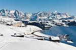 Italy, Alto Adige - Trentino, South Tyrol, above Selva di Val Gardena: passroad Passo Gardena (2.585 m) with Hotel Cir | Italien, Suedtirol, Groednertal, oberhalb Wolkenstein, Groednerjoch Passhoehe (2.585 m) mit Hotel Cir