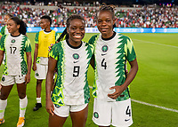 AUSTIN, TX - JUNE 16: Toni Payne #9 and Glory Ogbonna #4 of Nigeria pose for a photo during a game between Nigeria and USWNT at Q2 Stadium on June 16, 2021 in Austin, Texas.