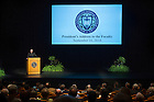 Sept 16, 2014; Rev. John I. Jenkins, C.S.C., president of the University delivers his annual address to the faculty in the Decio Mainstage Theater. (Photo by Barbara Johnston/University of Notre Dame)