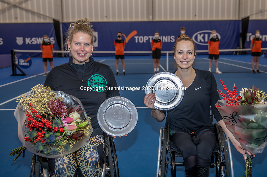 Amstelveen, Netherlands, 12  December, 2020, National Tennis Center, NTC, NKR, National   Indoor Wheelchair Tennis Championships, Women's Doubles Final :  Winners Jiske Griffioen (NED) and Michaela Spaanstra (NED) (L)<br /> Photo: Henk Koster/tennisimages.com