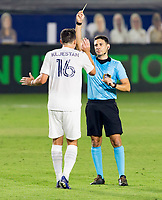 CARSON, CA - OCTOBER 07: Sacha Kljestan #16 of the Los Angeles Galaxy is shown yellow by referee Ramy Touchan during a game between Portland Timbers and Los Angeles Galaxy at Dignity Heath Sports Park on October 07, 2020 in Carson, California.