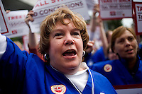 Members of National Nurses United join the OccupyBoston demonstration in Dewey Square in the Financial District of downtown Boston, Massachusetts, USA. The protesters are part of  OccupyBoston, which is part of the OccupyWallStreet movement, expressing discontent with the socioeconomic situation of the 99% of the US population who are not wealthy.  Protestors have been camping in Dewey Square since Sept. 30, 2011. Gradually, larger organizations, including major labor unions, have expressed their support for the OccupyBoston effort.  On this day, Oct. 5, members of National Nurses United, the largest nurses' union in the US, marched alongside the OccupyBoston protesters.