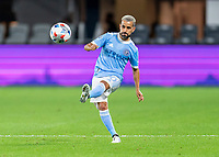 WASHINGTON, DC - APRIL 17: Maxi Moralez #10 of New York City FC passes the ball during a game between New York City FC and D.C. United at Audi Field on April 17, 2021 in Washington, DC.
