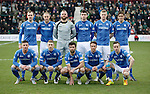 Hibs v St Johnstone...30.01.16   Utilita Scottish League Cup Semi-Final, Tynecastle..<br /> The St Johnstone team line up before kick off, back row from left, Dave Mackay, Steven Anderson, Alan Mannus, Joe Shaughnessy, Brian Easton and Murray Davidson.<br /> Front row from left, Michael O'Halloran, David Wotherspoon, Simon Lappin, Chris Millar and Steven MacLean<br /> Picture by Graeme Hart.<br /> Copyright Perthshire Picture Agency<br /> Tel: 01738 623350  Mobile: 07990 594431
