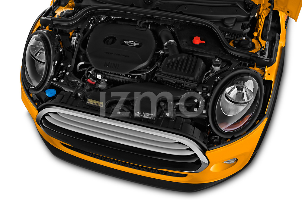 Car Stock 2017 MINI Cooper 3-door 3 Door Hatchback Engine  high angle detail view