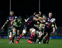 20th December 2020; The Sportsground, Galway, Connacht, Ireland; European Champions Cup Rugby, Connacht versus Bristol Bears; Steven Luatua (Bristol Bears) plays the ball away as Ultan Dillane (Connacht) closes in for a tackle