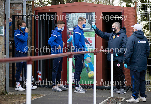 Kelty Hearts v St Johnstone…07.10.20   New Central Park  Betfred Cup<br />Jason Kerr, Callum Hendry and Stevie May have their temperatures checked on arrival at New Central Park<br />Picture by Graeme Hart.<br />Copyright Perthshire Picture Agency<br />Tel: 01738 623350  Mobile: 07990 594431
