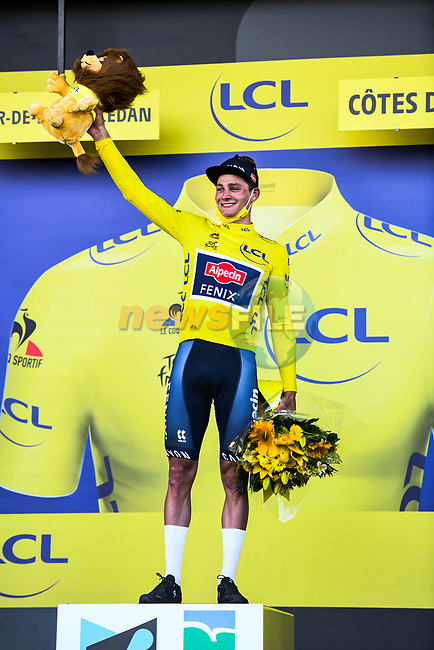 Mathieu Van Der Poel (NED) Alpecin-Fenix wins Stage 2 and takes over the race leaders Yellow Jersey of the 2021 Tour de France, running 183.5km from Perros-Guirec to Mur-de-Bretagne Guerledan, France. 27th June 2021.  <br /> Picture: A.S.O./Charly Lopez | Cyclefile<br /> <br /> All photos usage must carry mandatory copyright credit (© Cyclefile | A.S.O./Charly Lopez)