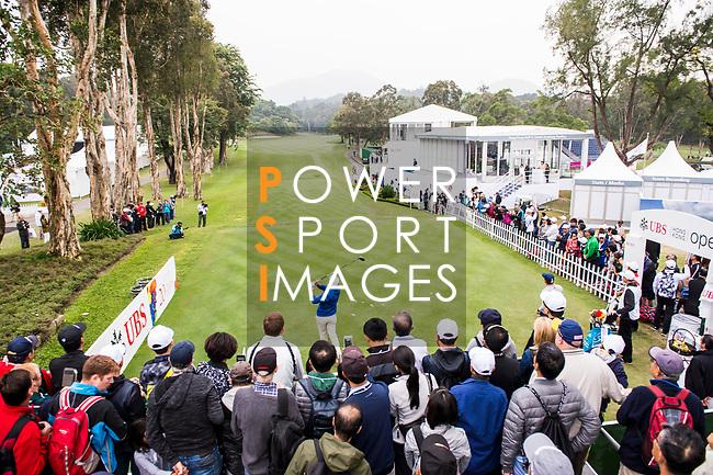 Spectators watch as Danny Chia of Malaysia tees off during the day three of UBS Hong Kong Open 2017 at the Hong Kong Golf Club on 25 November 2017, in Hong Kong, Hong Kong. Photo by Marcio Rodrigo Machado / Power Sport Images