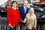Fianna Fail's Micheál Martin TD with Cllr Norma Foley talking to Ciss O'Connor during his visit to Tralee on Monday. .