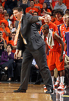 Feb. 2, 2011; Charlottesville, VA, USA; Clemson Tigers head coach Brad Brownell reacts to a call during the game against the Virginia Cavaliers at the John Paul Jones Arena. Virginia won 49-47. Mandatory Credit: Andrew Shurtleff