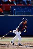Clay Williamson #42 of the Cal State Fullerton Titans bats against the Nebraska Cornhuskers at Goodwin Field on February 16, 2013 in Fullerton, California. Cal State Fullerton defeated Nebraska 10-5. (Larry Goren/Four Seam Images)