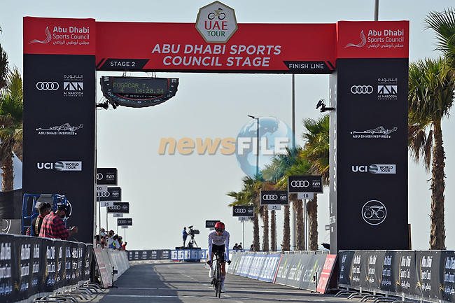 Tadej Pogacar (SLO) UAE Team Emirates crosses the finish line of Stage 2 of the 2021 UAE Tour running 13km around Al Hudayriyat Island, Abu Dhabi, UAE. 22nd February 2021.  <br /> Picture: LaPresse/Gian Mattia D'Alberto | Cyclefile<br /> <br /> All photos usage must carry mandatory copyright credit (© Cyclefile | LaPresse/Gian Mattia D'Alberto)