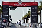 Tadej Pogacar (SLO) UAE Team Emirates crosses the finish line of Stage 2 of the 2021 UAE Tour running 13km around Al Hudayriyat Island, Abu Dhabi, UAE. 22nd February 2021.  <br /> Picture: LaPresse/Gian Mattia D'Alberto | Cyclefile<br /> <br /> All photos usage must carry mandatory copyright credit (© Cyclefile | LaPresse/Gian Mattia D'Alberto)