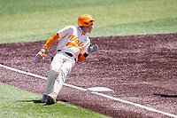 Tennessee Volunteers second baseman Max Ferguson (2) in action against the Florida Gators on Robert M. Lindsay Field at Lindsey Nelson Stadium on April 11, 2021, in Knoxville, Tennessee. (Danny Parker/Four Seam Images)