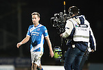 St Johnstone v Rangers…28.12.16     McDiarmid Park    SPFL<br />Steven MacLean who scored saints equaliser is followed off the pitch by a BT Sport camera crew<br />Picture by Graeme Hart.<br />Copyright Perthshire Picture Agency<br />Tel: 01738 623350  Mobile: 07990 594431
