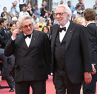 Jury president George Miller and jury member Donald Sutherland arrive on the red carpet before the closing ceremony of the 69th annual Cannes International Film Festival in Cannes, France on May 22, 2016. Photo by David Silpa/UPI