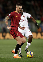 Calcio, Serie A: AS Roma - AC Milan, Roma, stadio Olimpico, 25 febbraio, 2018.<br /> Roma's Aleksandar  Kolarov (l) in action with Milan's Frank Kessie (r) during the Italian Serie A football match between AS Roma and AC Milan at Rome's Olympic stadium, February 28, 2018.<br /> UPDATE IMAGES PRESS/Isabella Bonotto