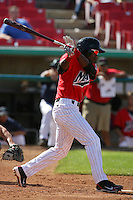 April 18, 2010: Denny Almonte of the High Desert Mavericks during game against the Lake Elsinore Storm at Mavericks Stadium in Adelanto,CA.  Photo by Larry Goren/Four Seam Images