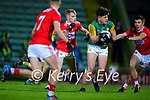 Oisín Maunsell, Kerry in action against Richard O'Sullivan, Cork and Fergal Walsh, Cork during the Munster Minor Semi-Final between Kerry and Cork in Austin Stack Park on Tuesday evening.