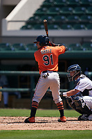 Baltimore Orioles Joseph Ortiz (91) bats during a Minor League Spring Training game against the Detroit Tigers on April 14, 2021 at Joker Marchant Stadium in Lakeland, Florida.  (Mike Janes/Four Seam Images)