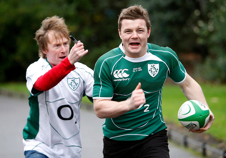"Ireland Rugby International player, Brian O'Driscoll, pictured here with Comedian and rugby supporter, Hector Ó hEochagáin launching the O2's ""Be The Difference"" rugby campaign.  The campaign is giving loyal Irish rugby fans the chance to be on the field with the Irish rugby team during the match against England at Croke Park on February 28th.  'Be The Difference' is all about the difference that fans' support can make. So now thousands of lucky fans can show their support by having their names printed onto the number on the Irish rugby players' match jerseys during this crucial clash..To find out more about being the difference for the Irish rugby team during the upcoming Six Nations tournament, log on to www.bethedifference.ie or visit any O2 store nationwide. Pic. Robbie Reynolds.."