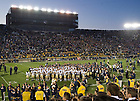 Oct. 29, 2011; The Notre Dame football team stands with the Navy football team for the signing of the U.S. Naval Academy alma mater after the 56-14 Irish victory...Photo by Matt Cashore