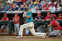 Billy Cooke #17 of the Coastal Carolina Chanticleers bats during a College World Series Finals game between the Coastal Carolina Chanticleers and Arizona Wildcats at TD Ameritrade Park on June 27, 2016 in Omaha, Nebraska. (Brace Hemmelgarn/Four Seam Images)